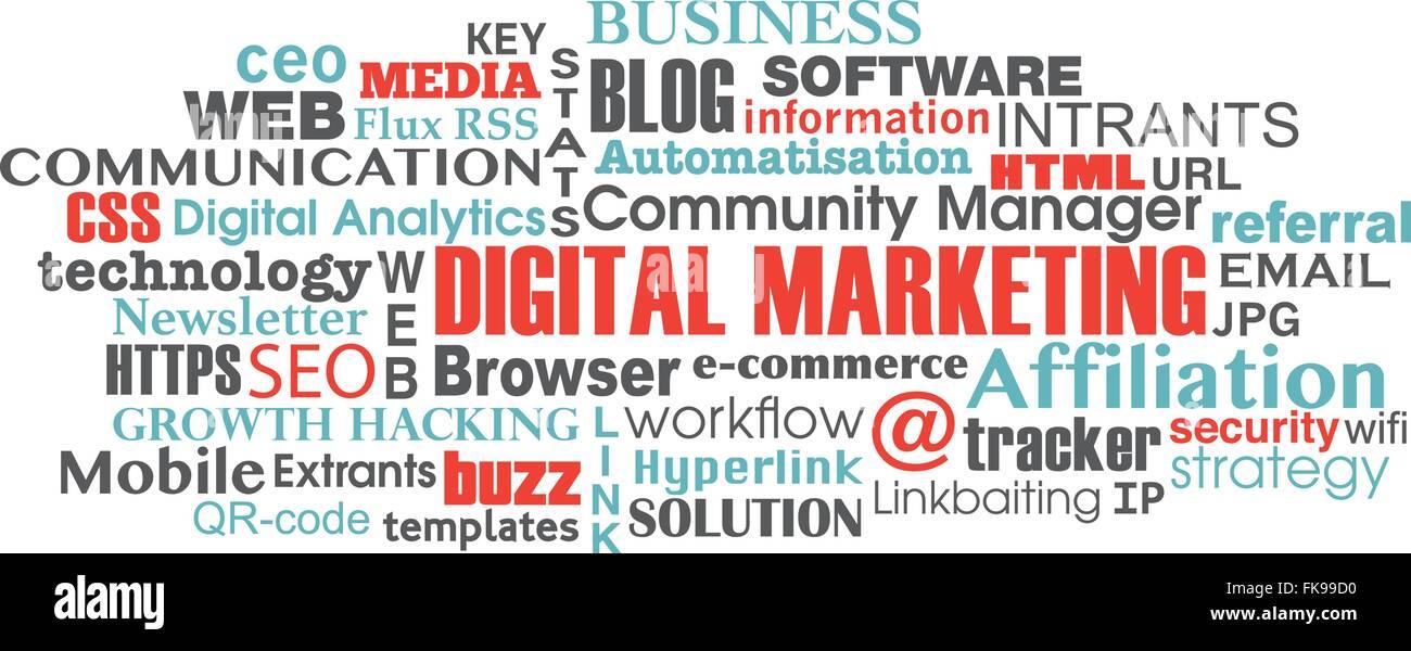 digital marketing concept word tag cloud Stock Vector Art