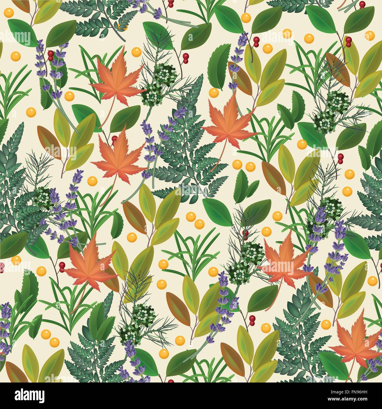 Herbal Wallpaper Seamless Pattern With Fresh Leaves Herbal Background With Plants
