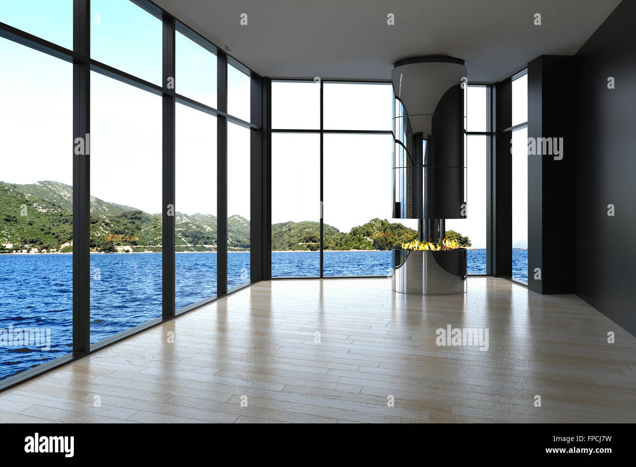 Modern Unfurnished Living Room With Floor To Ceiling Glass
