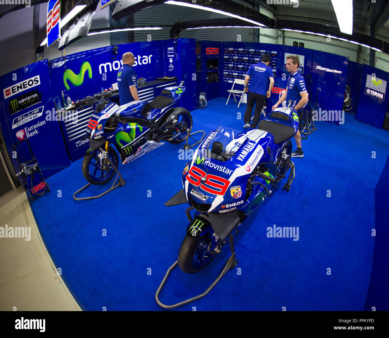 Garage Yamaha Losail International Circuit Qatar 19th March 2016 The Movistar