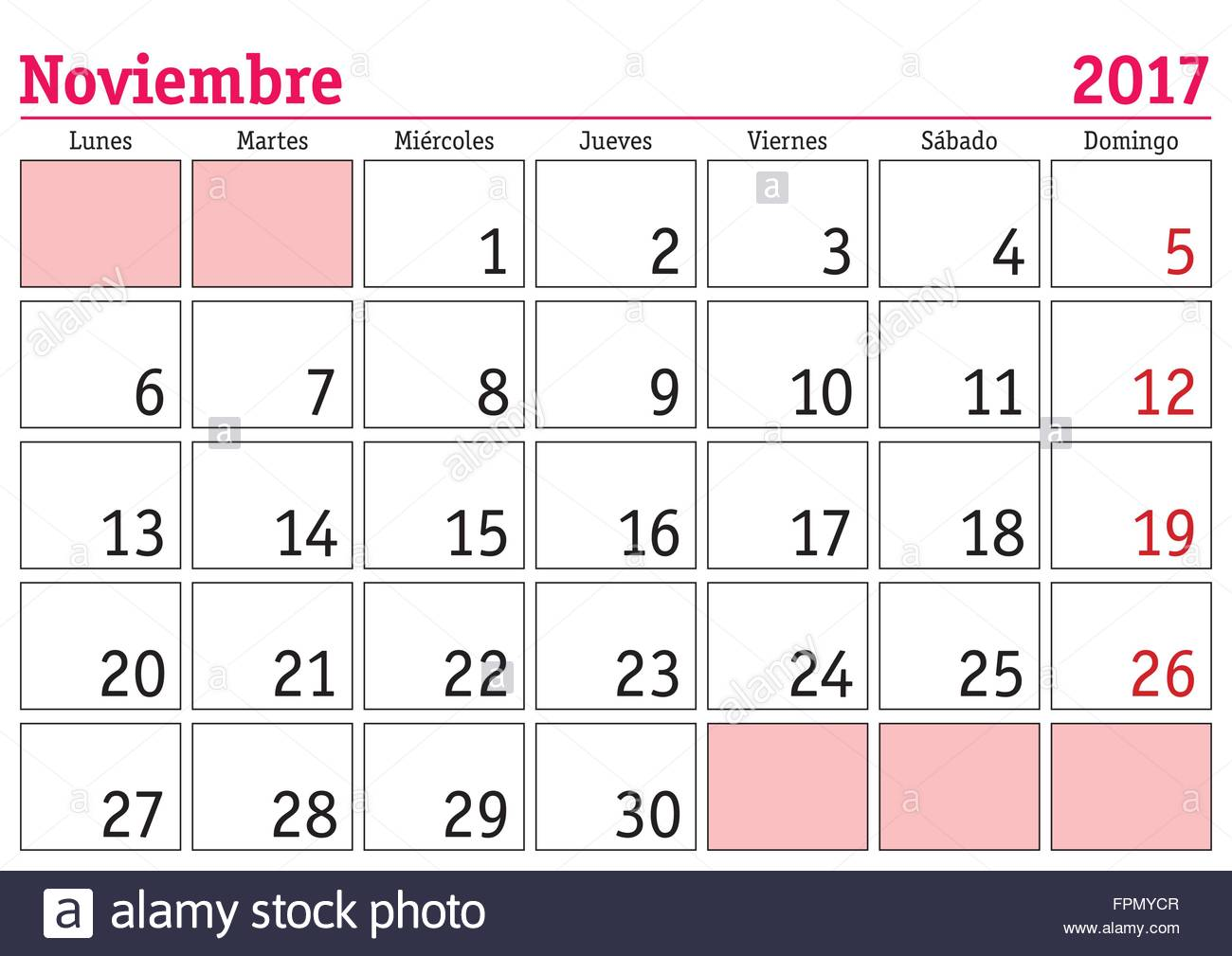 Calendario Mes Noviembre 2017 November Month In A Year 2017 Wall Calendar In Spanish