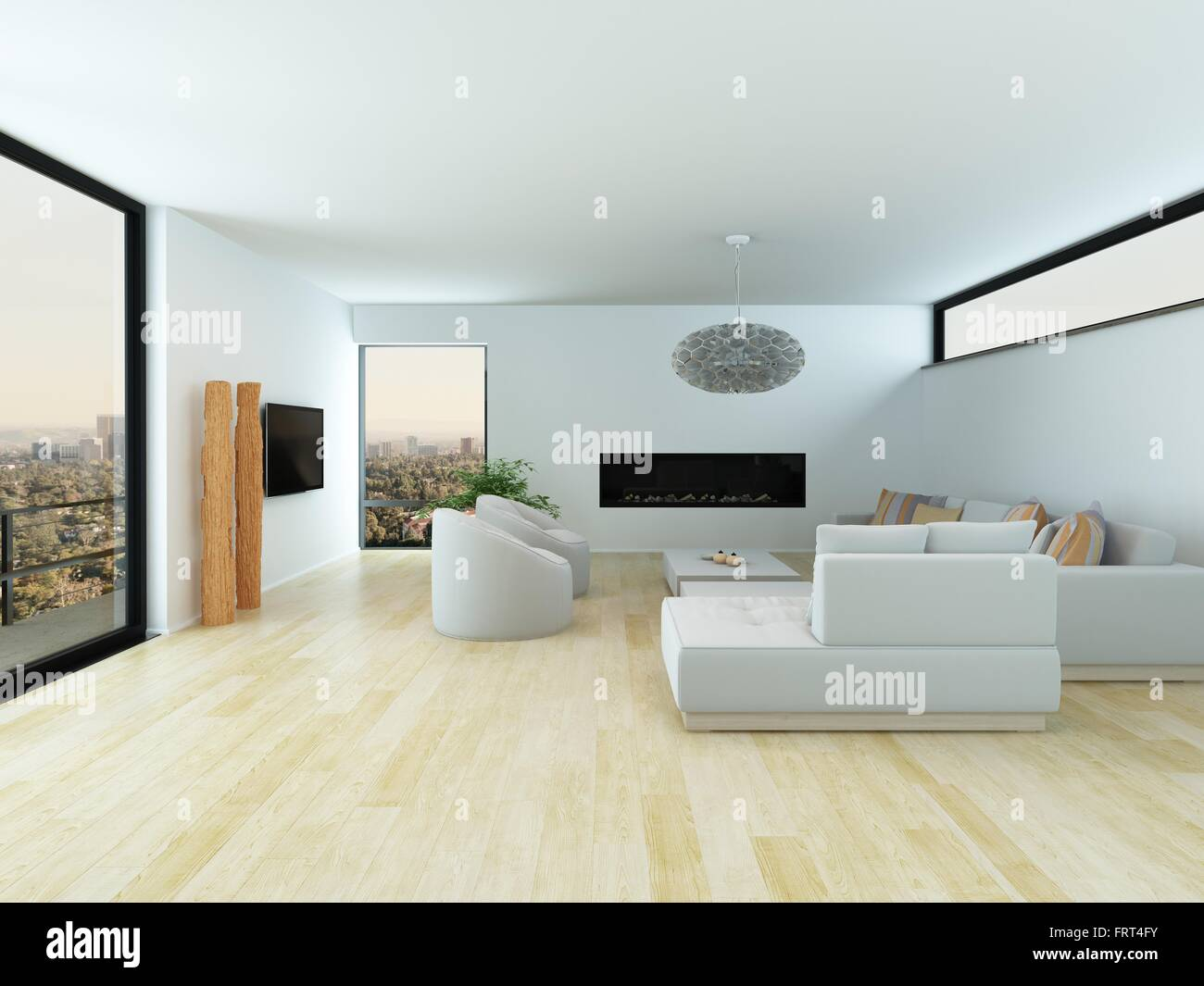 White On White Living Room Modern White Living Room Interior With A Light Parquet