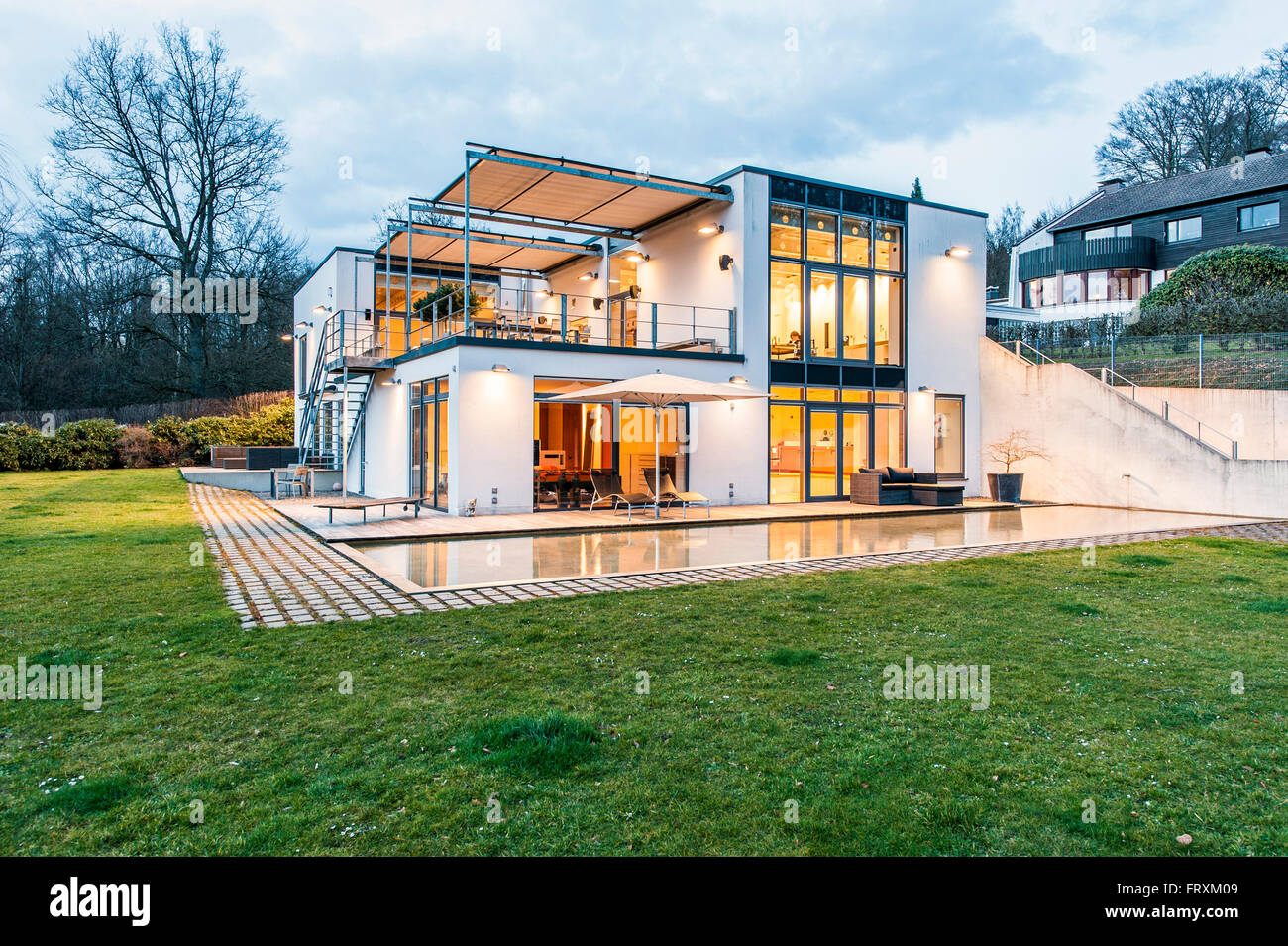 Bauhaus Villa Bauhaus Villa At Dusk Sauerland Germany Stock Photo 100775369