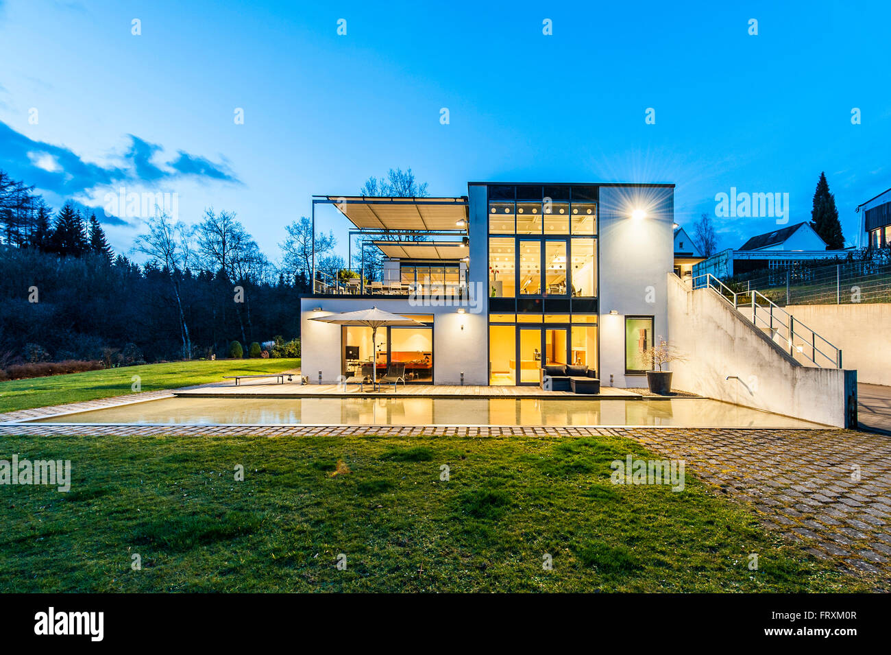 Bauhaus Villa Bauhaus Villa At Dusk Sauerland Germany Stock Photo 100775383