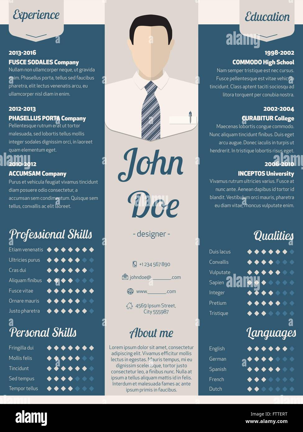 template cv light blue and gray modern