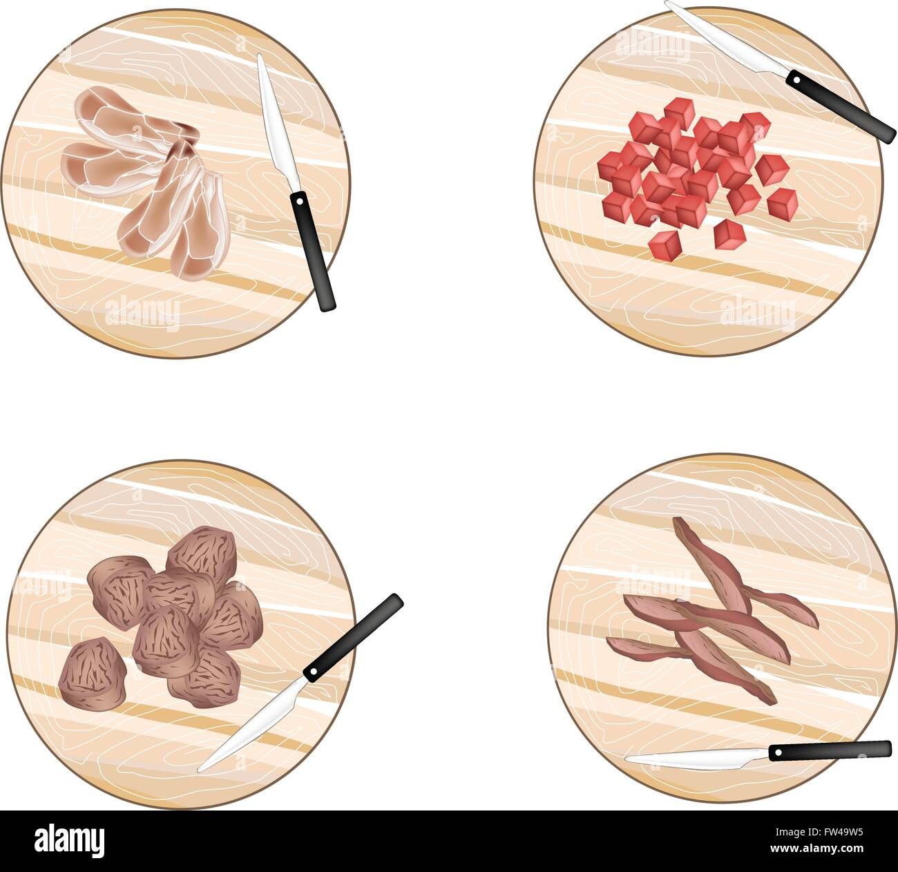Different Types Of Cutting Boards Cuisine And Food Different Types Of Raw Meat On Wooden