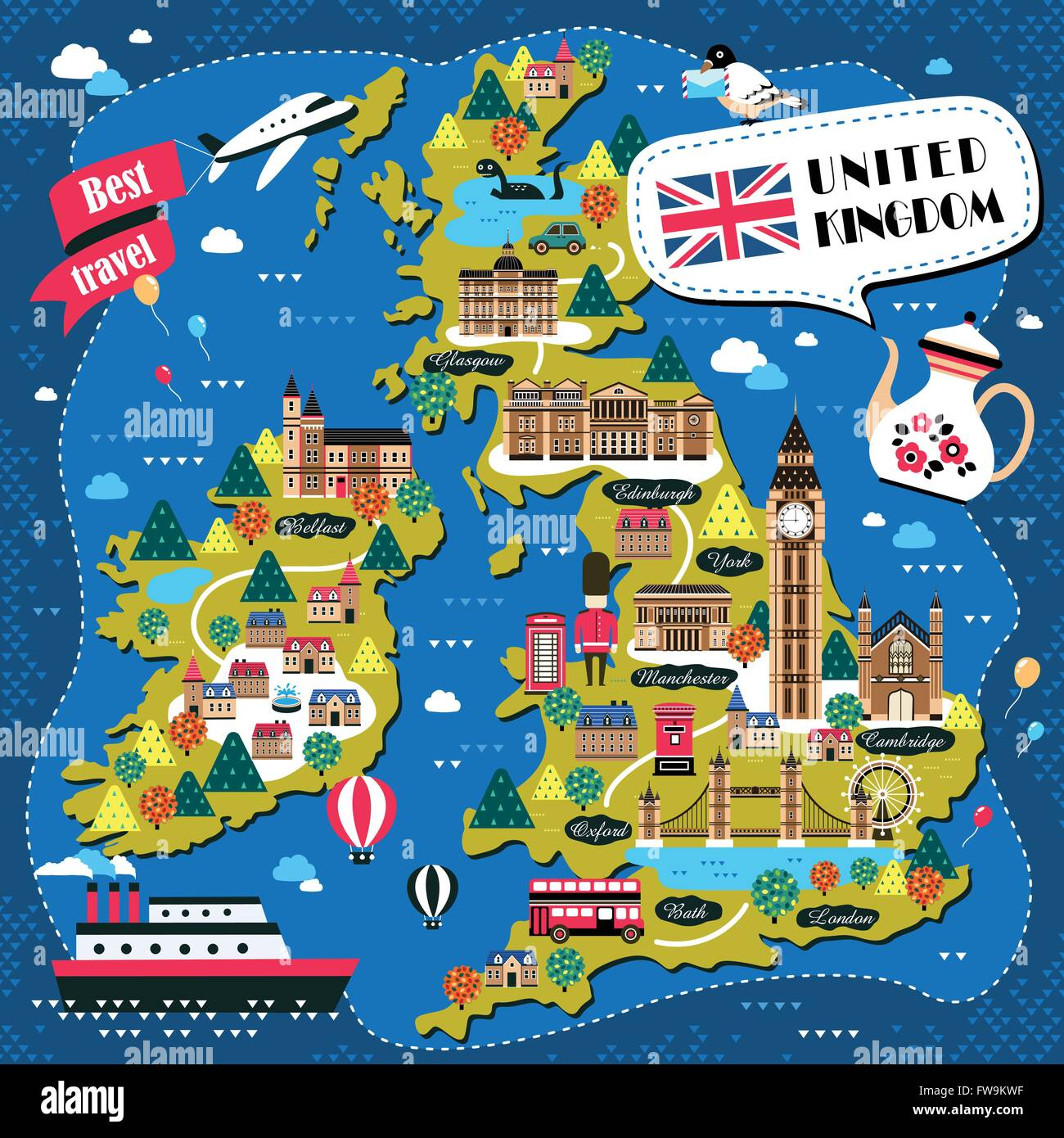 Kare Design Nederland Lovely United Kingdom Travel Map Design With Attractions
