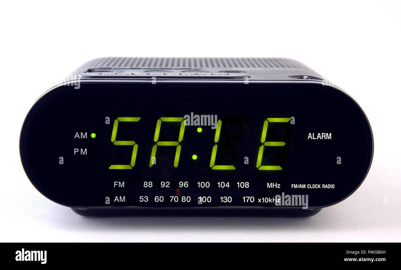 Digital Clock For Sale A Digital Clock Radio With The Word Sale Stock Photo 101778281