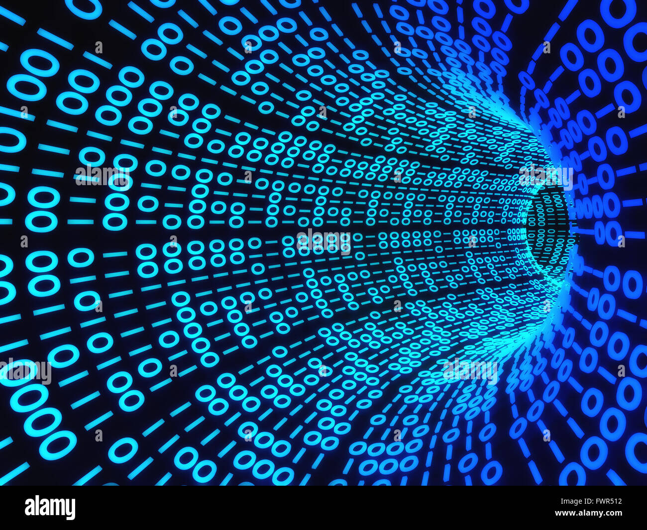 3d Tunnel Wallpaper Twisting Tunnel Of Digital Binary Computer Code Stock