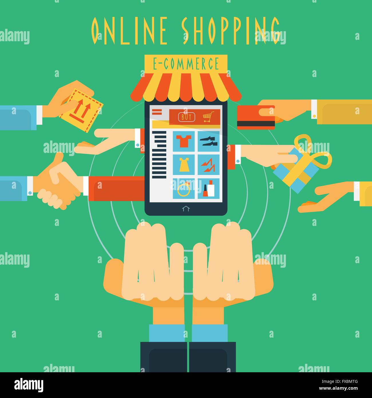 Mtg Online Shop Online Shopping Hands Concept Print Stock Vector Art