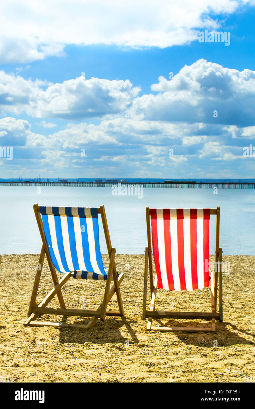 2 Deck Chairs On The Beach Stock Photo Alamy