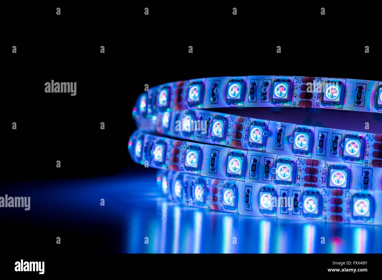 Led Light Strips Rgb Blue Led Light Strip Rgb Close Up Stock Photo 102607119 Alamy