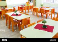 Kindergarten classroom with small chairs and tables Stock ...