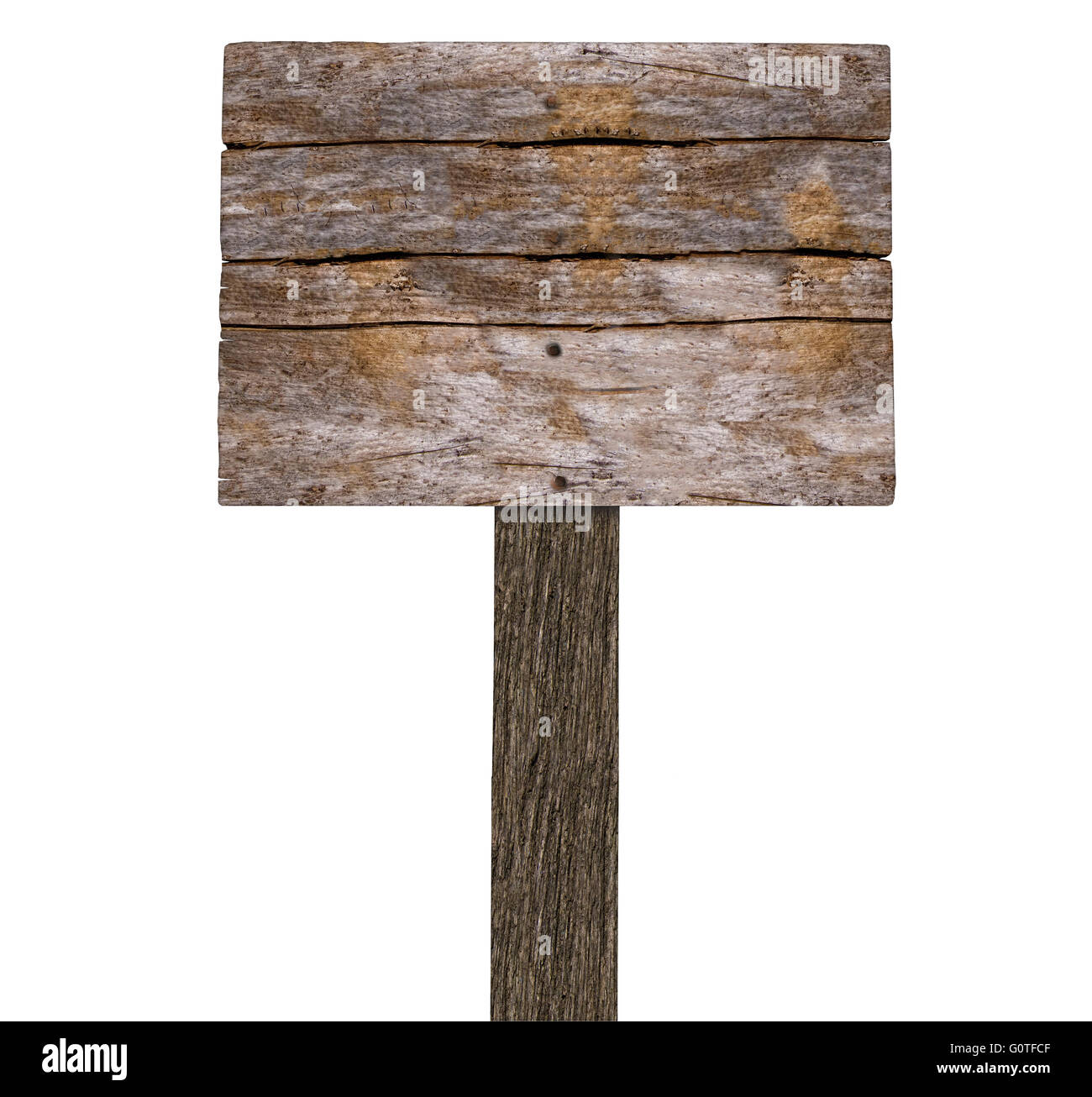 Blank Rustic Wooden Signboard On White Stock Photo Alamy