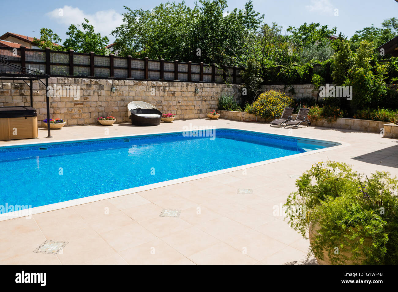 Pool And Jacuzzi Detail Courtyard With Swimming Pool And Jacuzzi Stock Photo