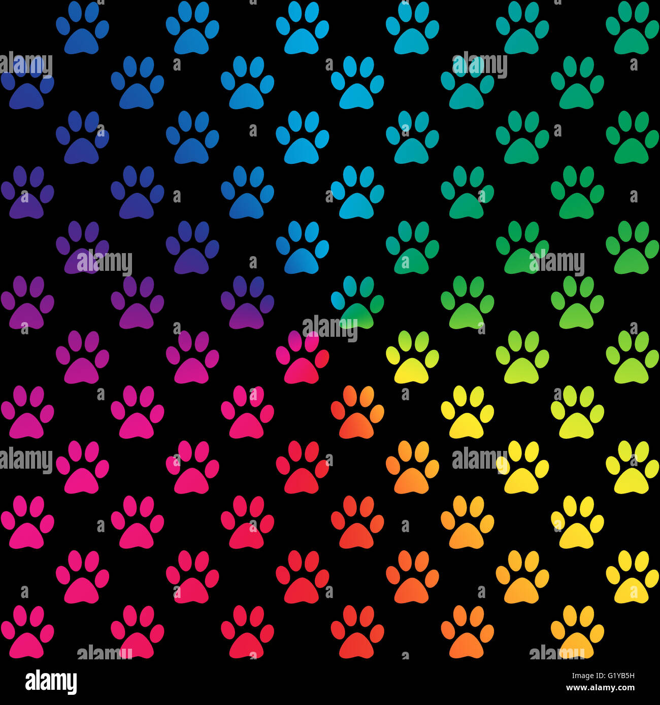 Cute Paw Print Wallpaper Paw Prints In Gradient Rainbow Colors On Black Background