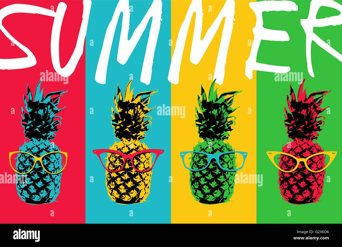 Pineapple With Sunglasses Tumblr Retro 80s Summer Concept Illustration Of Pop Art Pineapple