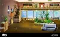 Cartoon Interior Design of Vintage Living Room Background ...