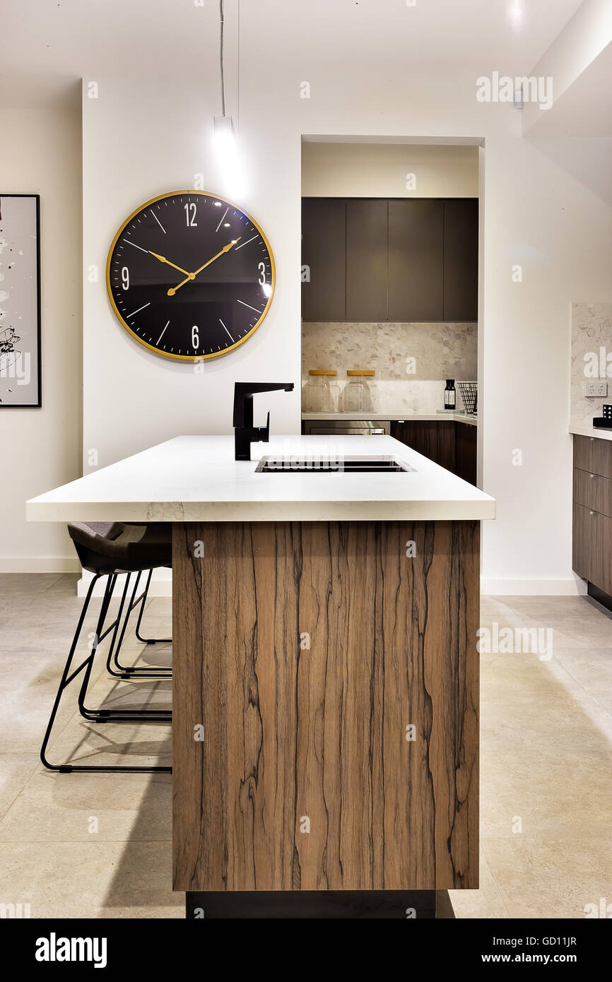 Top Black Kitchen Island With Granite Top Railing Stairs And Light Fixtures,kitchen Stock Photos & Light Fixtures
