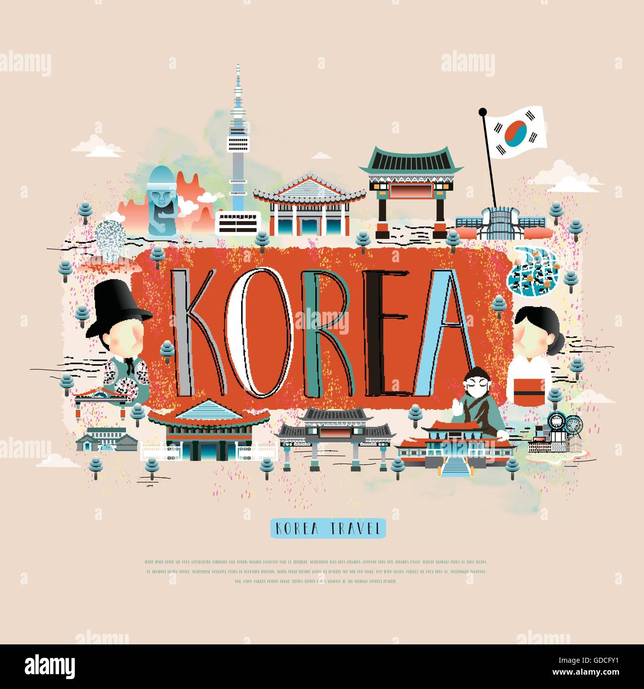 Stock vector moder korean travel poster design with attractions