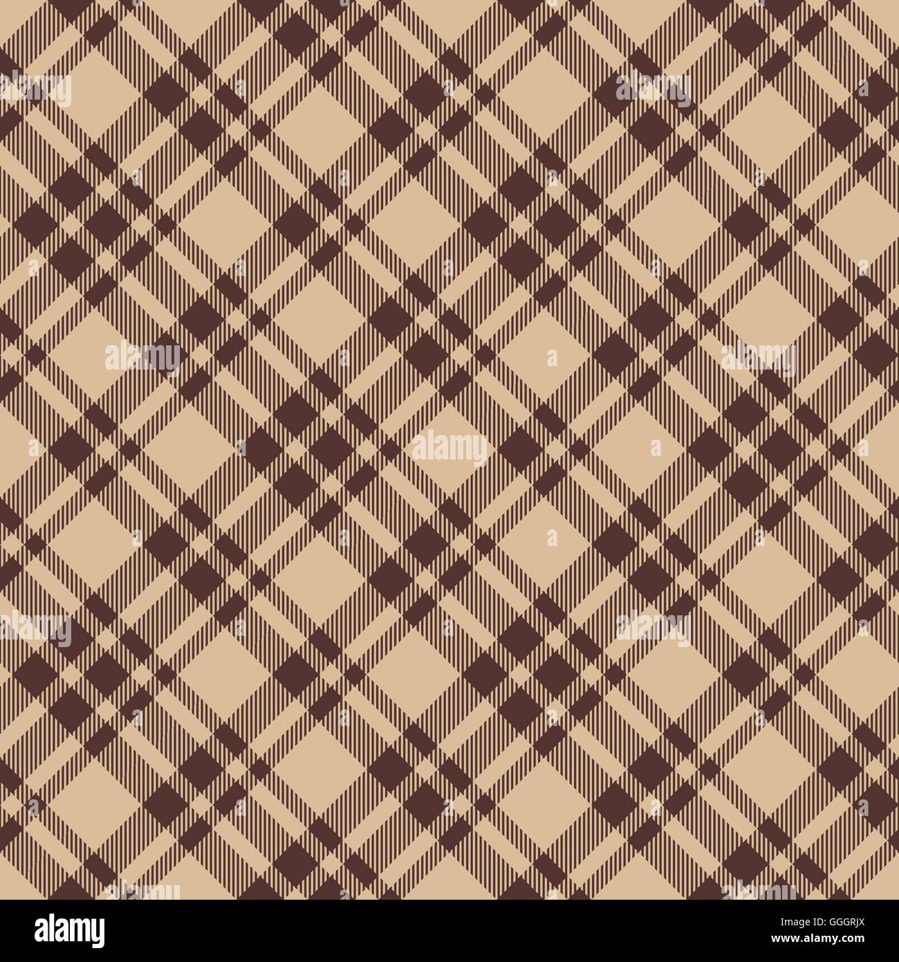 Brown Seamless Fabric Textures Beige Brown Diagonal Check Plaid Seamless Fabric Texture Vector