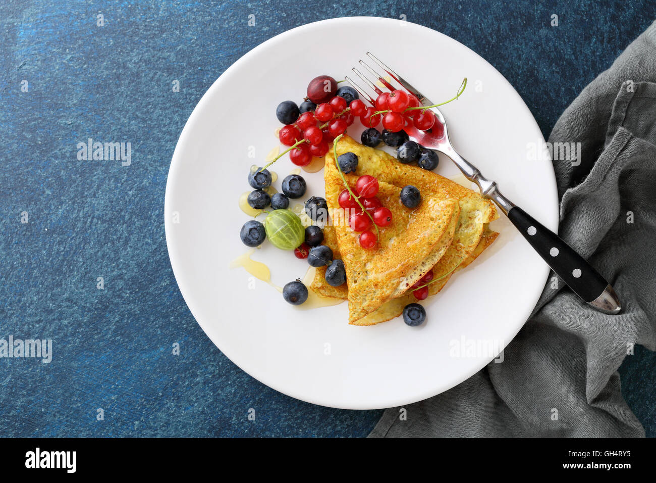 Plate With Food Top View Summer Pancake With Berries On White Plate Food Top View