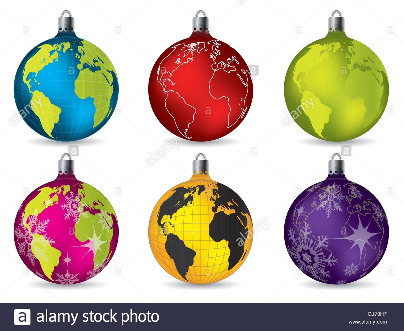 World Map Decorations Shiny Christmas Decorations With World Map Stock Vector Art