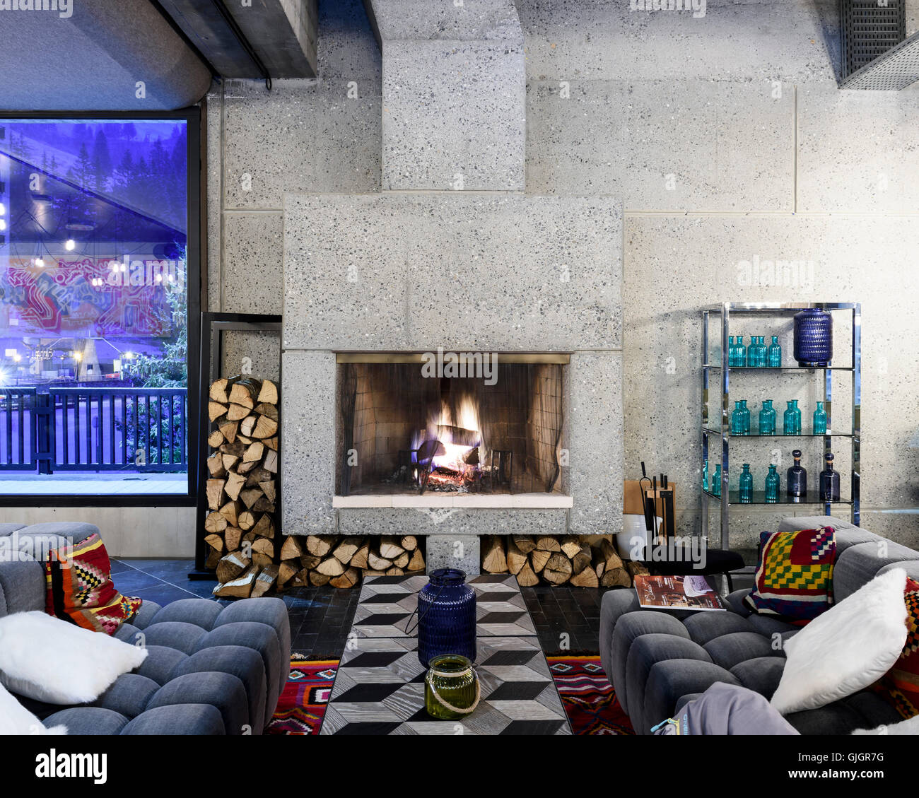 Fireplace At Hotel Totem Flaine Flaine France Architect Marcel Stock Photo Alamy