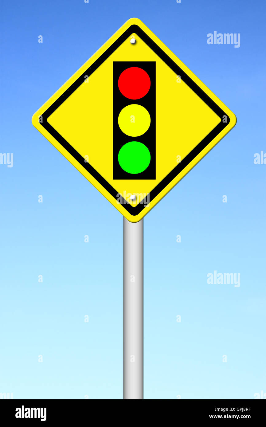 Warning Light Clipart Traffic Light Ahead Warning Sign Stock Photo 117186707 Alamy