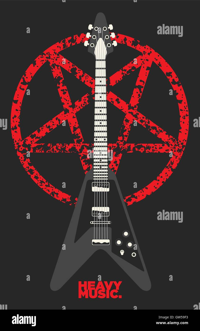 On Heavy Metal Heavy Metal Guitar And Pentagram Vector Design Features Rough