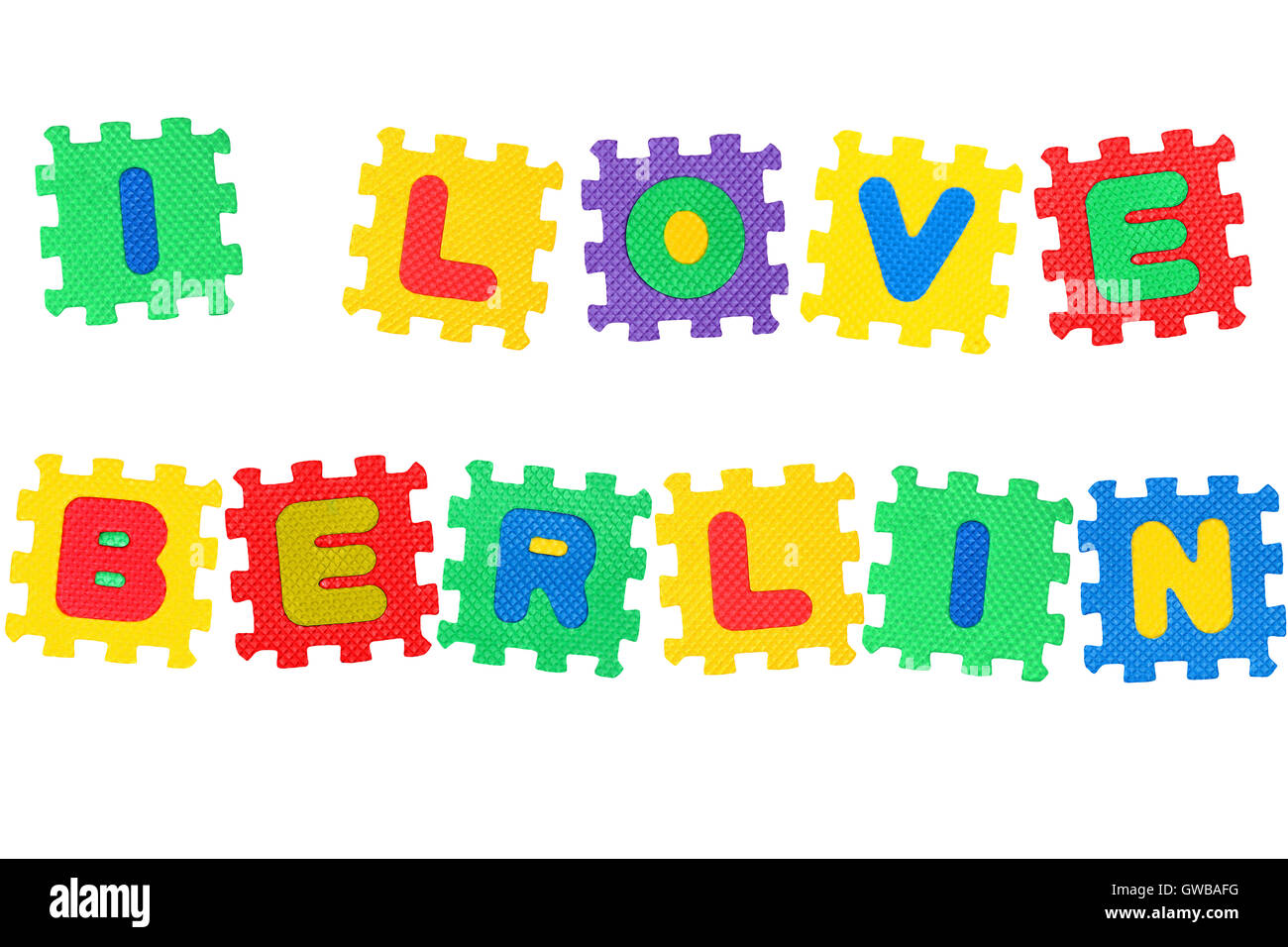 Berlin Puzzle Message I Love Berlin From Letters Puzzle Isolated On White