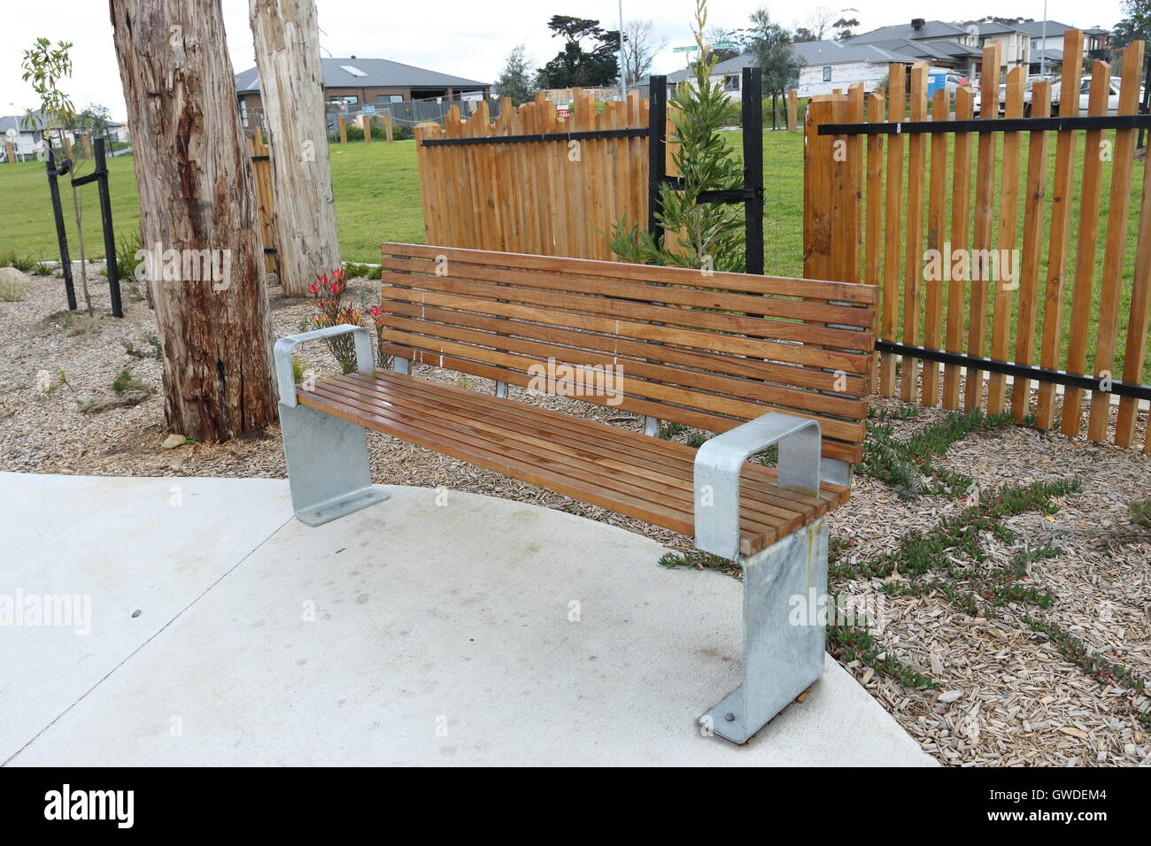 Garden Bench Australia Wooden Garden Bench At Megasaurus Playground Cranbourne East Stock