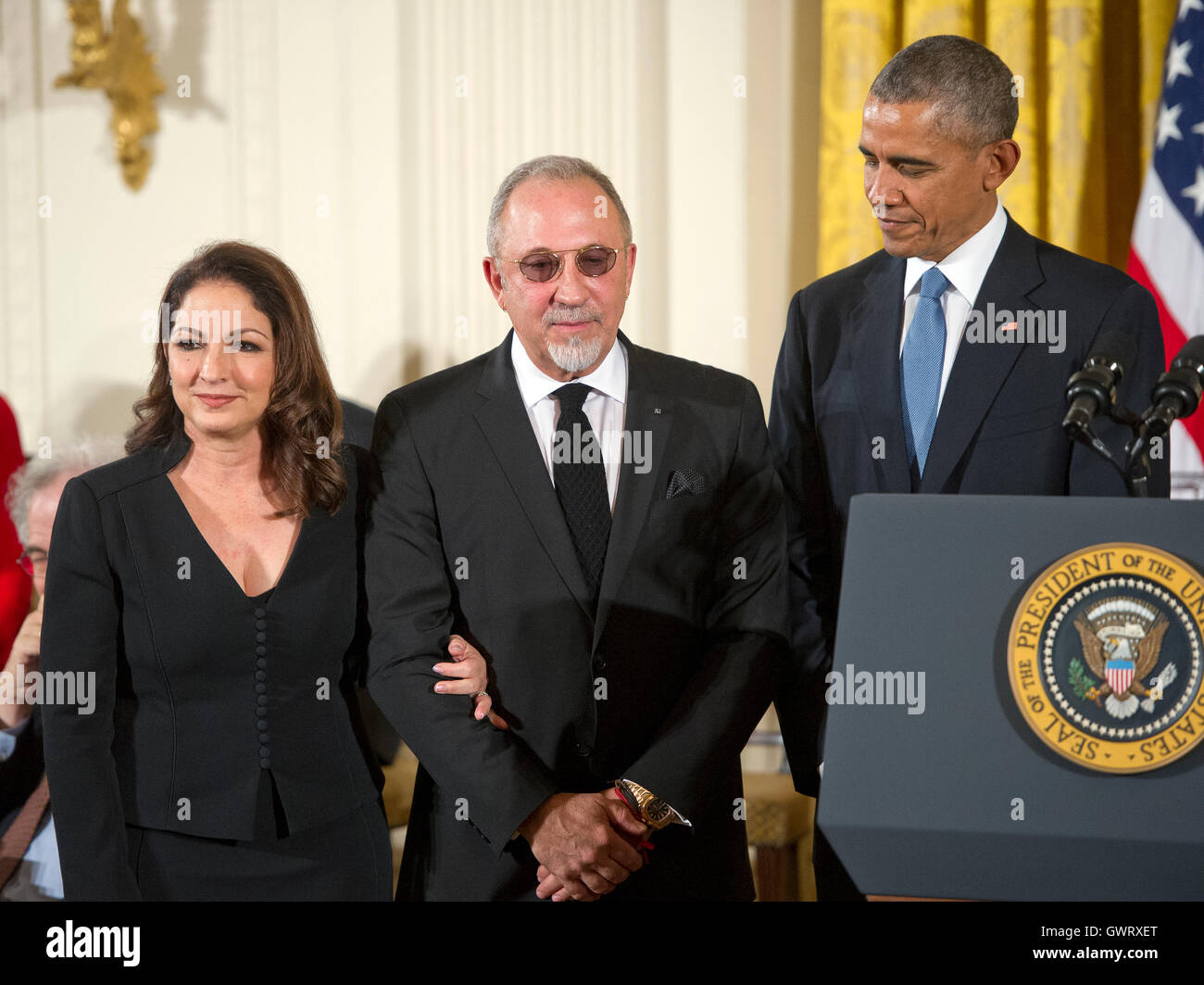 Freedom Coat Stand Gloria And Emilio Estefan Stand To Receive The Presidential Medal