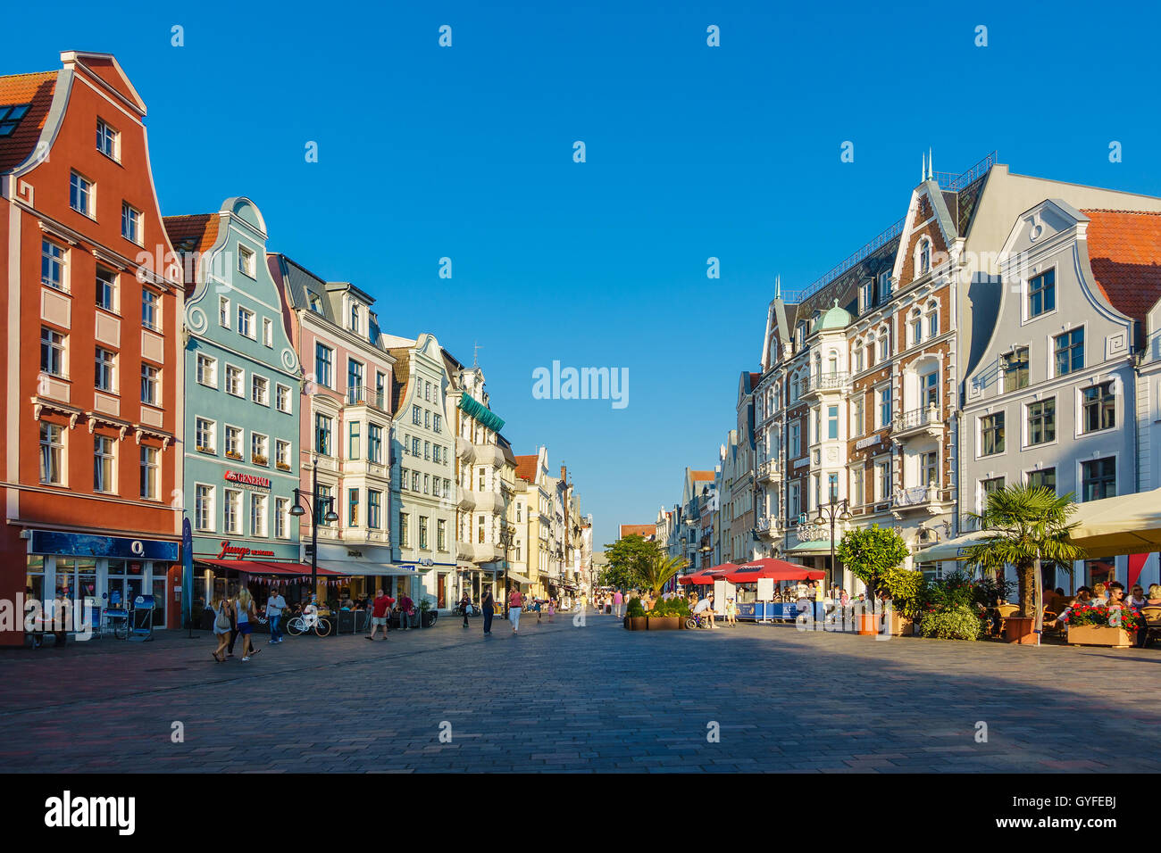 Rostock Shopping View To A Shopping Street In Rostock Germany Stock Photo