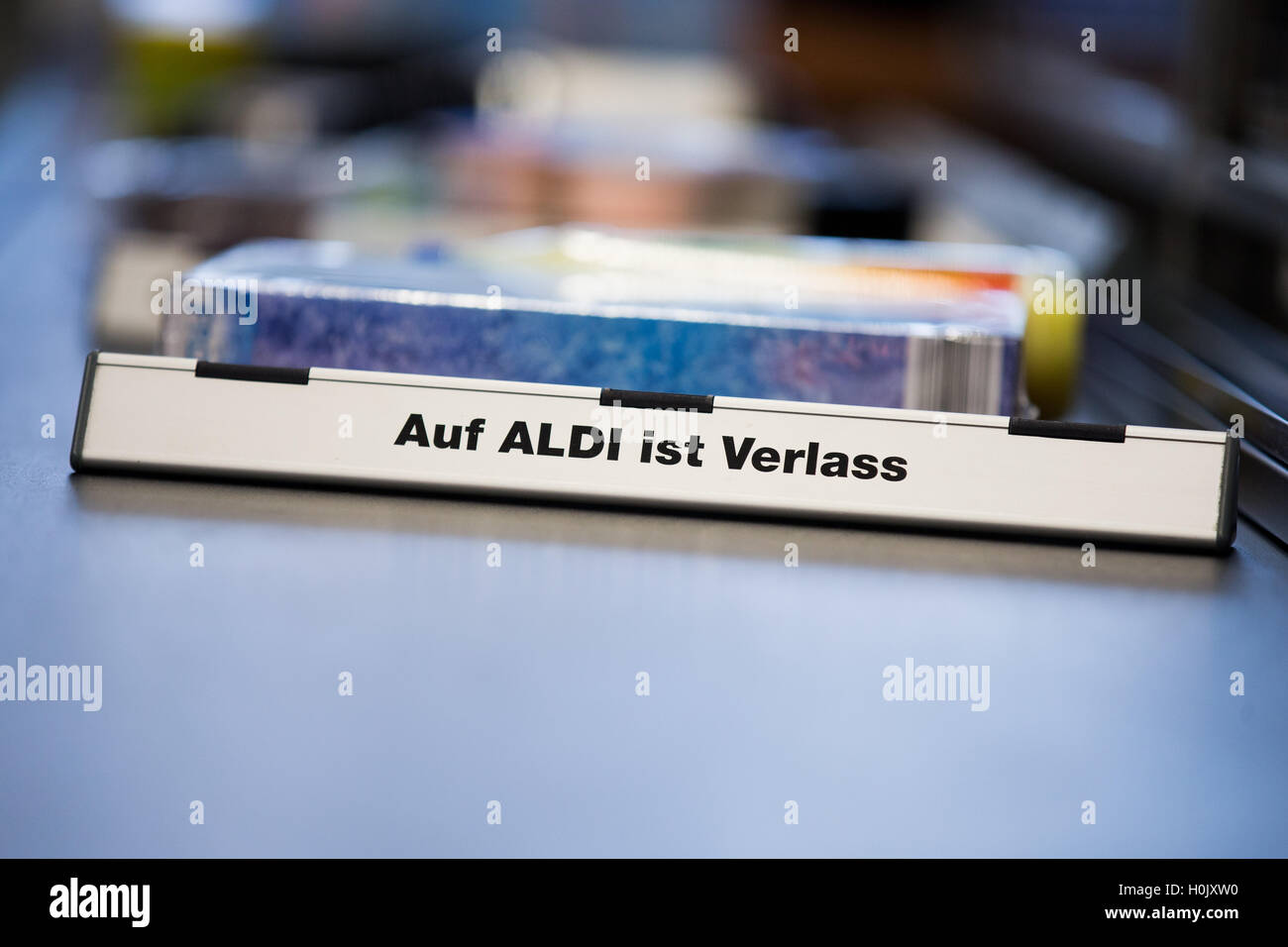 Aldi Nord Computer Gladbeck Germany 20th Sep 2016 A Checkout Divider Reads Auf