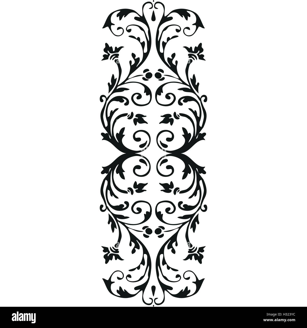 Full Moon Clip Art Black And White Vector Vertical Border Curled Floral Element On White