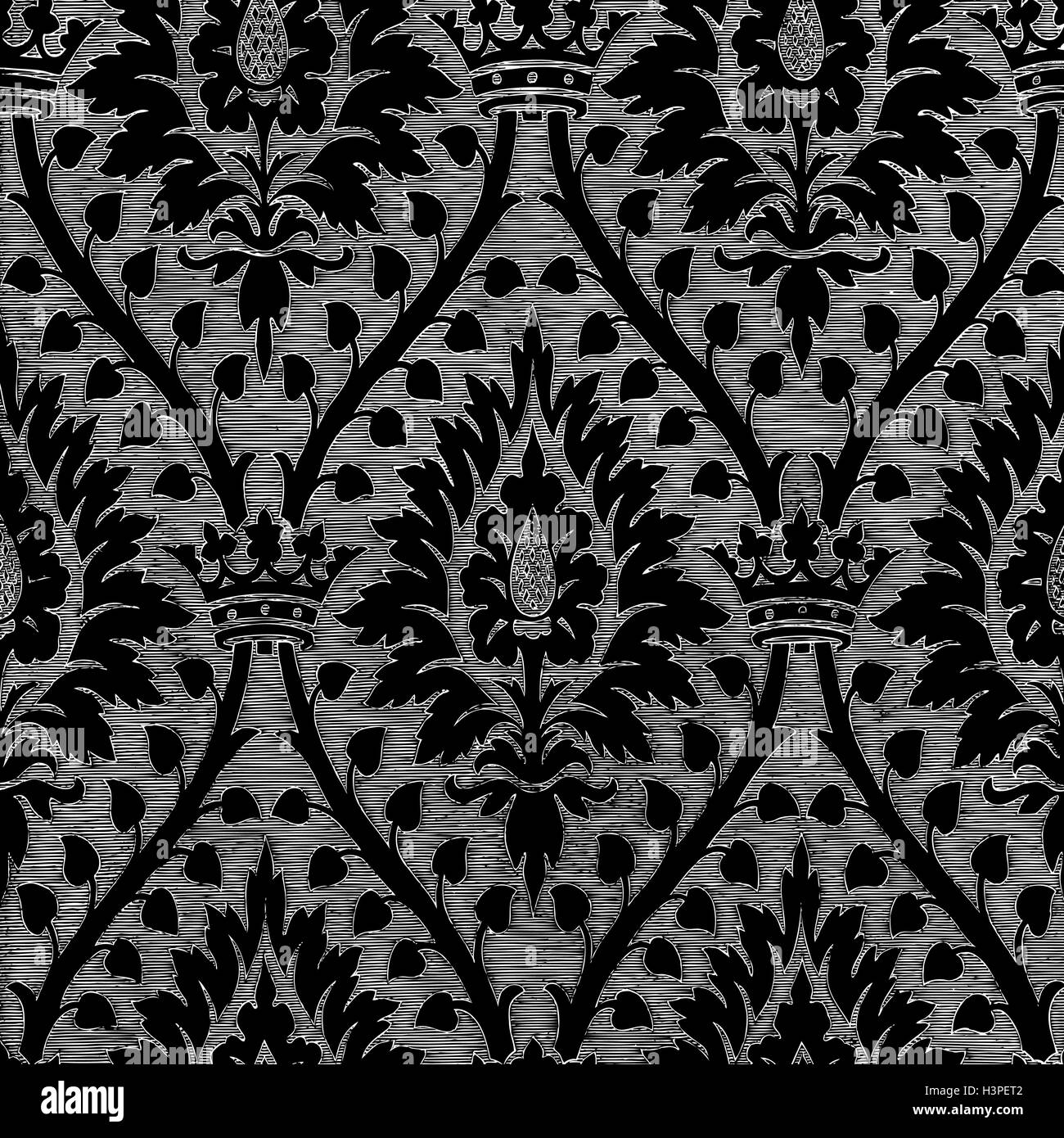 Vintage Metallregal Abstract Hand-drawn Floral Seamless Pattern With Crown, Vintage Stock Vector Image & Art - Alamy