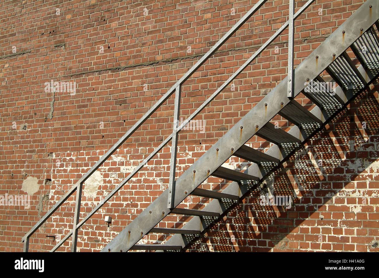 Outside Stairs Clay Brick Wall Outside Stairs Wall Defensive Wall Brick Stock