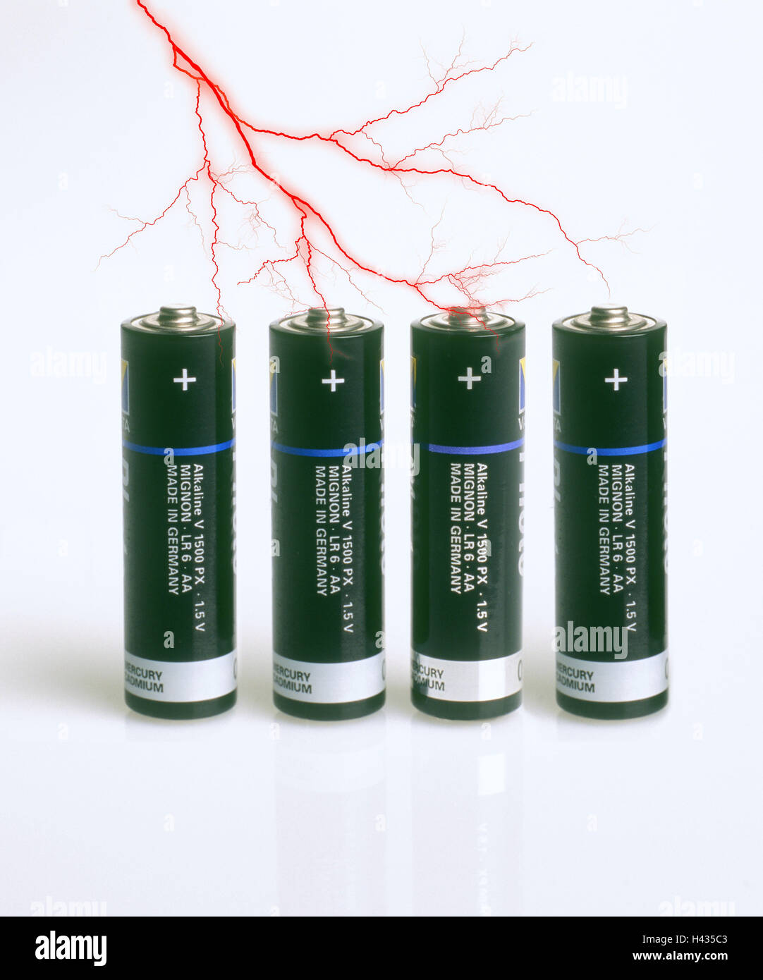 Aa Batterien Composing Batteries Aa Lightnings Stream Connection Stock