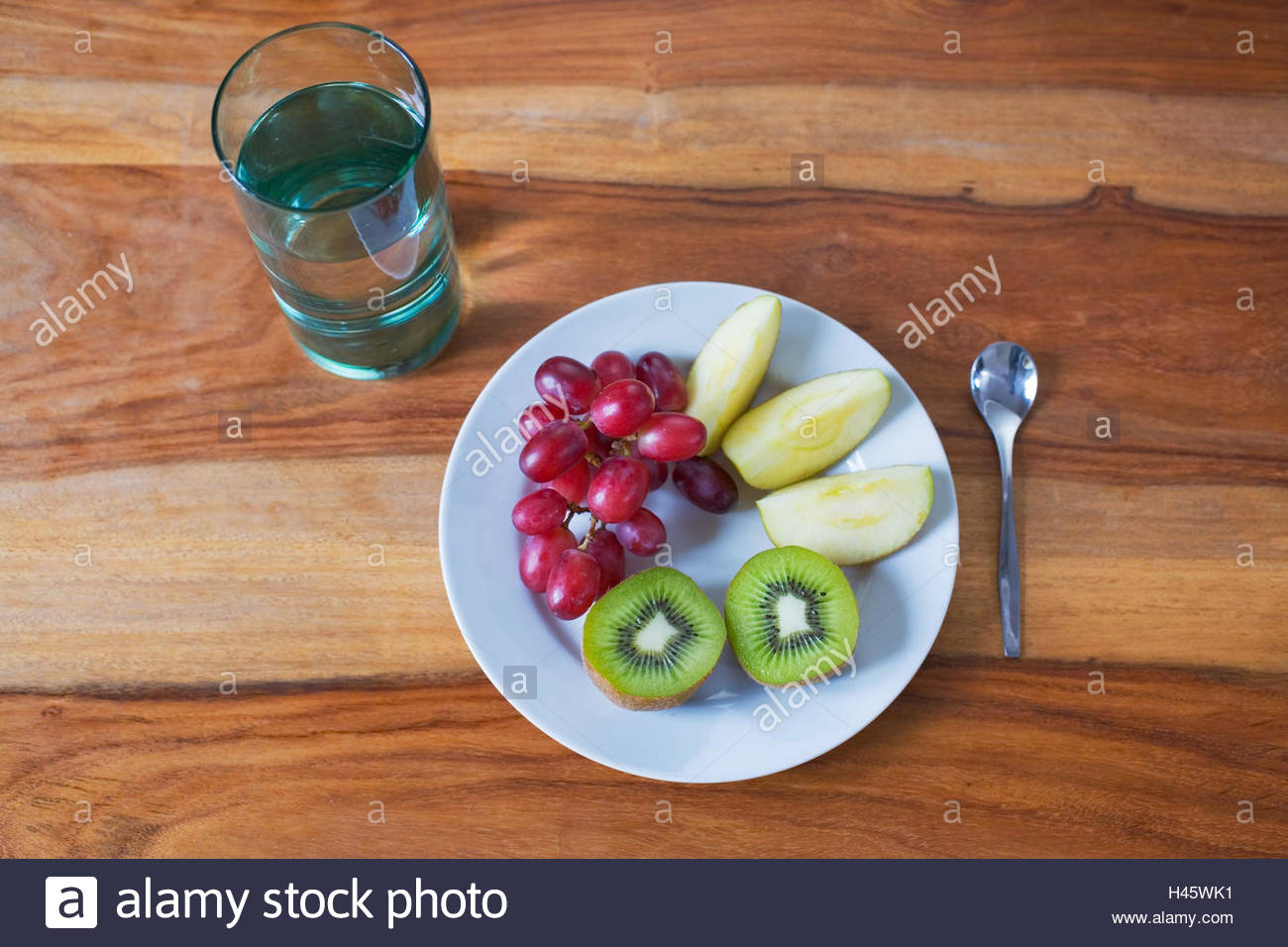Plate With Food Top View Plates Fruit Glass Water Spoon Top View Stilllife