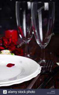 Romantic Valentine Candle Light Dinner Table Setting with ...