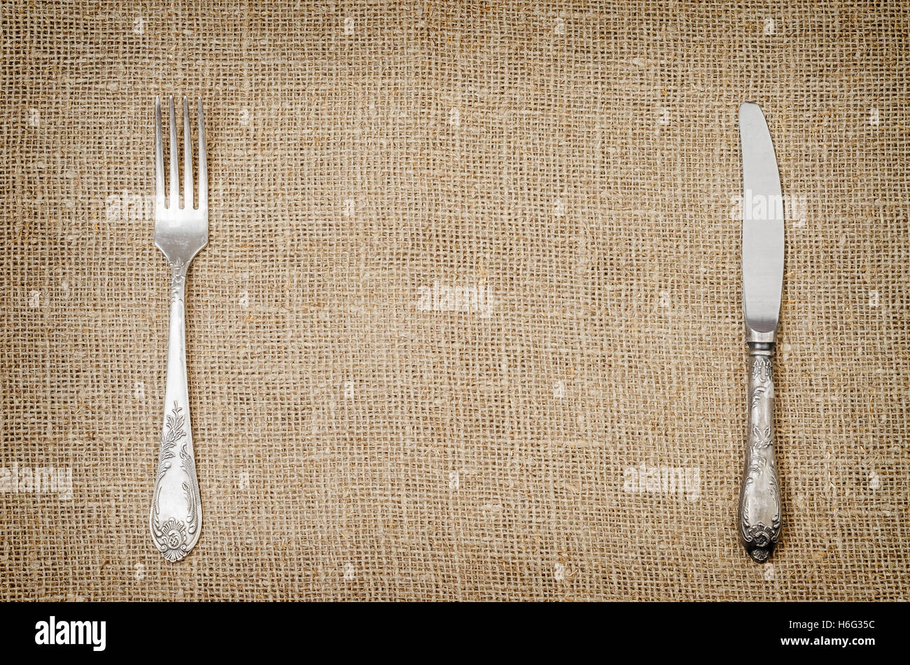 Rustic Flatware Patterns Linen Background Stock Photos And Linen Background Stock
