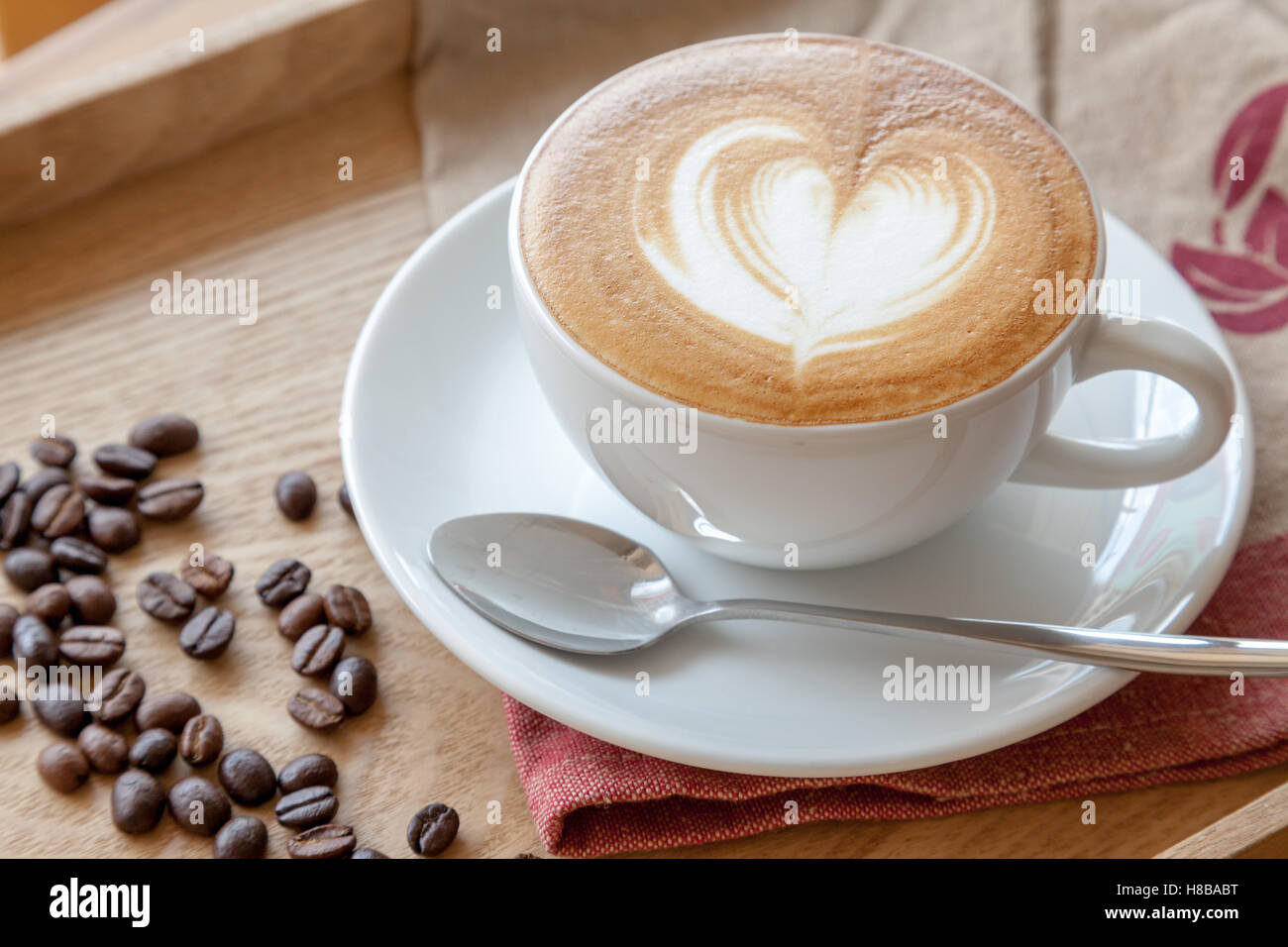 Coffee Latte Coffee Cup Of Cafe Latte With Heart Latte Art On Top Stock Photo