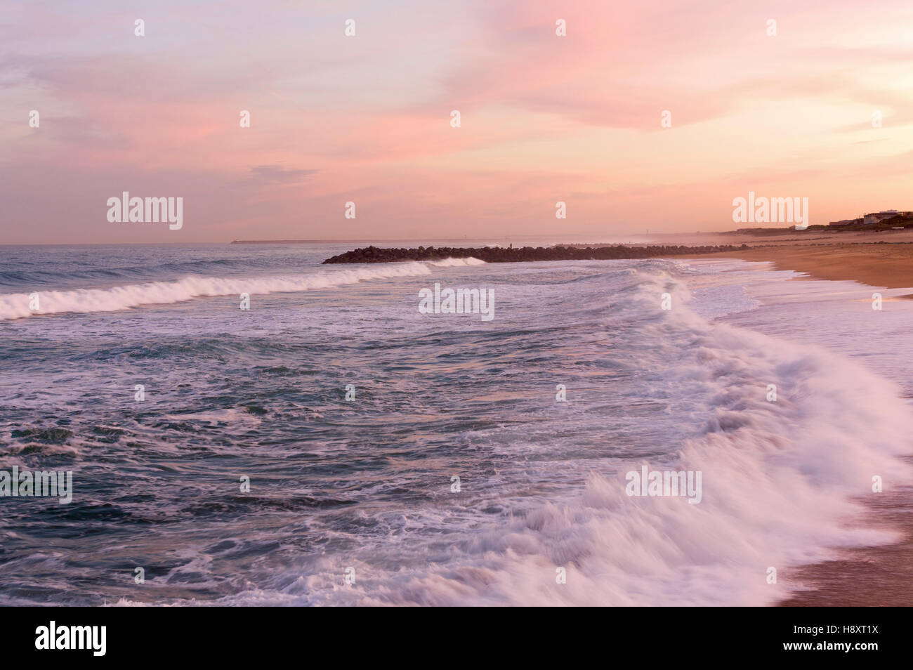 Chambre D Amour Dawn On The Chambre D Amour Beach In Anglet France Europe Stock