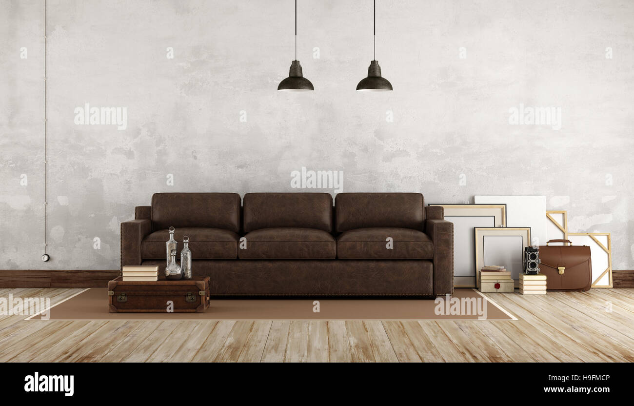 Retro Sofa Leather Retro Living Room With Leather Sofa 3d Rendering Stock Photo