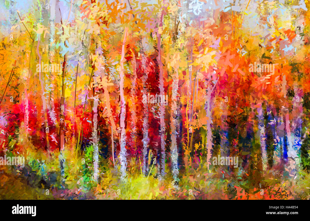 Colorful Fall Scene Wallpaper Oil Painting Landscape Colorful Autumn Trees Semi