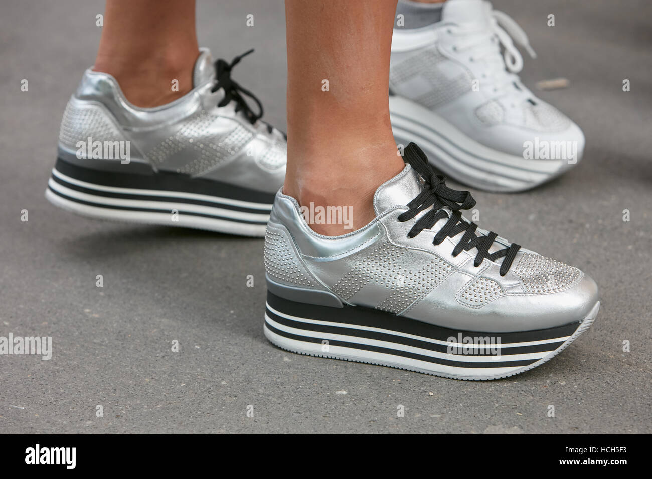 Hogan Shoes Woman With Silver Hogan Shoes Before Fashion Tod S Show Milan