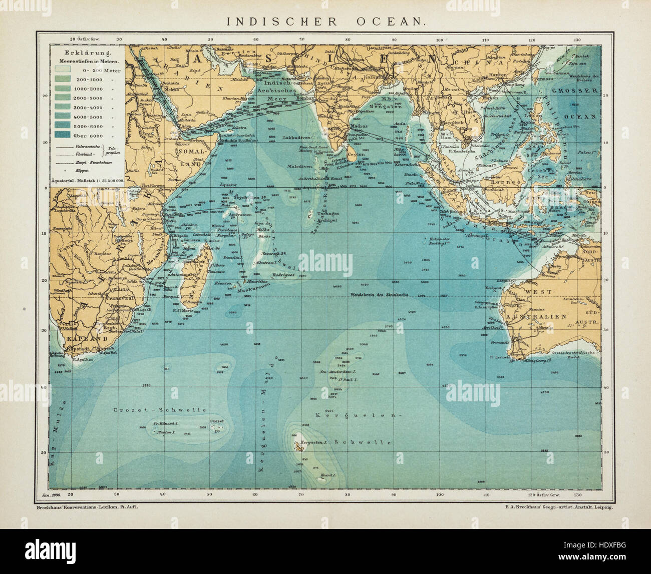 Vintage Look Indian Ocean Old, Antique Map, Vintage Look Stock Photo - Alamy