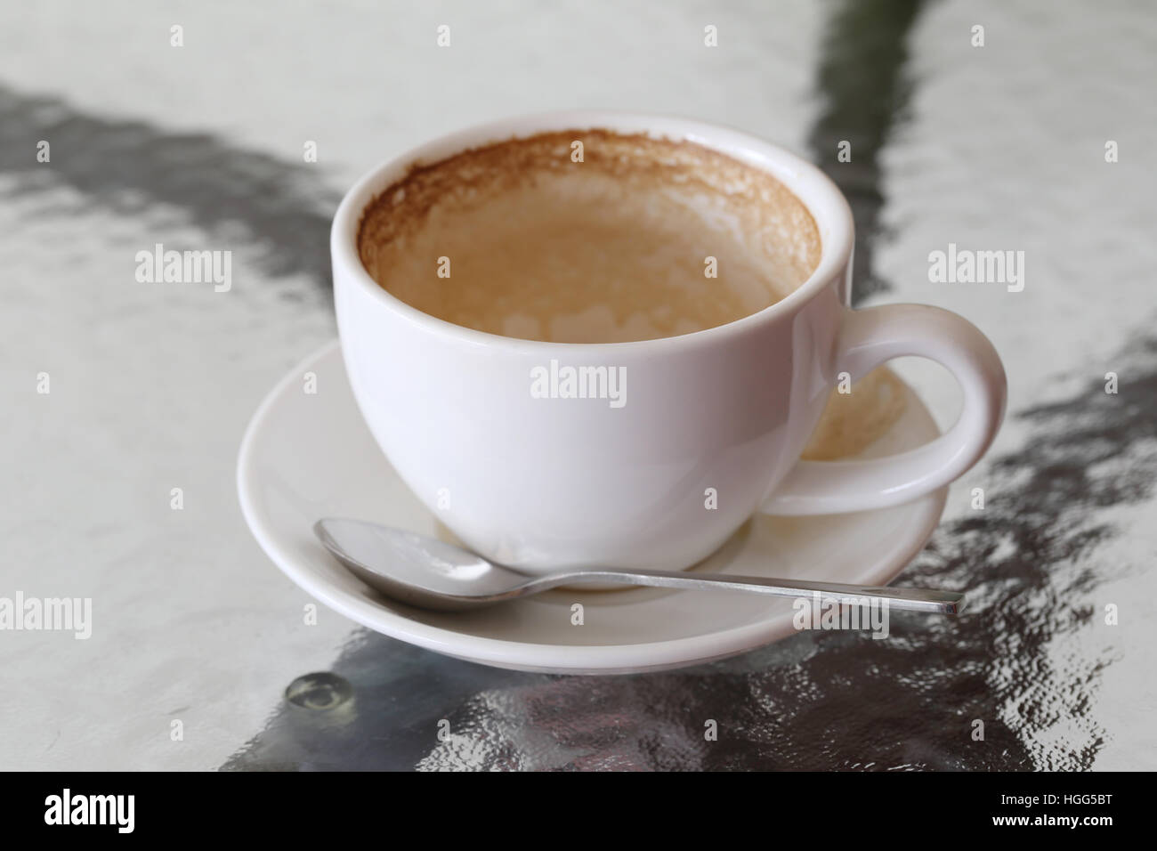 Mug A Cafe White Coffee Mug With Coffee Stains On Table In A Cafe Stock Photo
