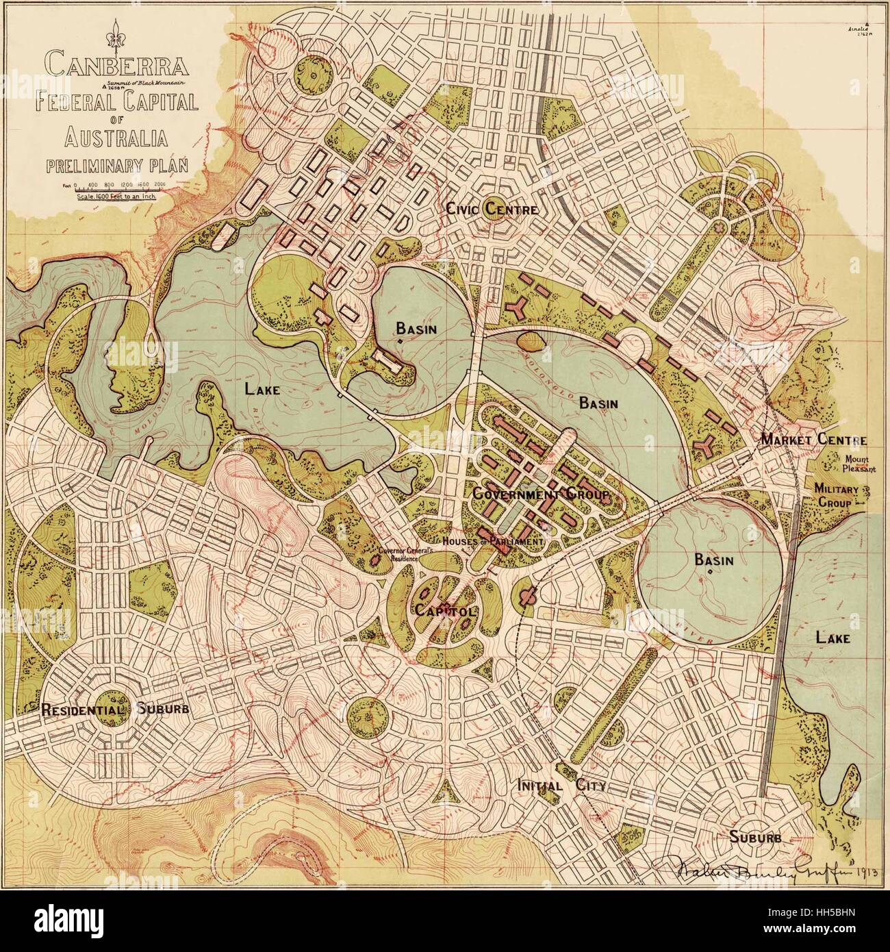 Map Of Canberra Vintage Map Of Canberra Stock Photos Vintage Map Of Canberra